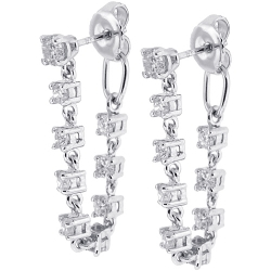 Womens Diamond Loop Earrings 14K White Gold 1.34 ct