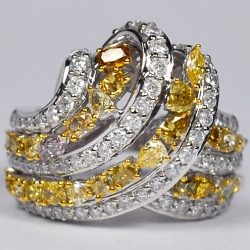 14K White Gold 3.02 ct Fancy Yellow Diamond Womens Highway Ring