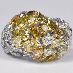 14K White Gold 4.87 ct Fancy Yellow Diamond Womens Dome Ring