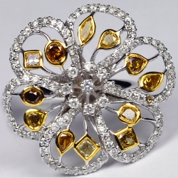 14K White Gold 3.48 ct Fancy Yellow Diamond Womens Flower Ring