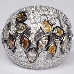 14K White Gold 4.35 ct Fancy Yellow Diamond Womens Dome Ring