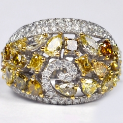 14K White Gold 5.06 ct Fancy Yellow Diamond Womens Dome Ring