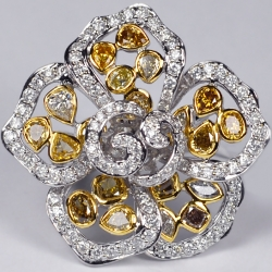 14K White Gold 4.69 ct Fancy Yellow Diamond Womens Flower Ring