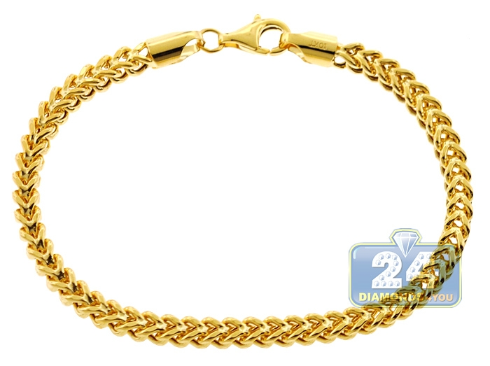 10k Yellow Gold Franco Link Mens Bracelet 4 5 Mm 8 5 Inches