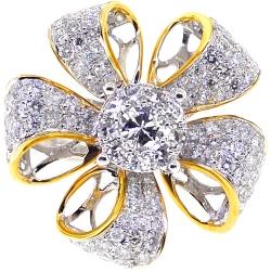 Womens Diamond Flower Ring 14K Two Tone Gold 1.80 ct