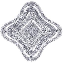 Womens Diamond Layered Flower Ring 14K White Gold 1.02 ct