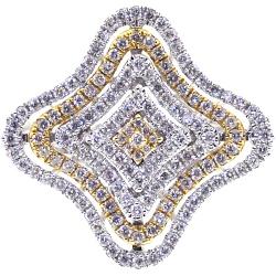 Womens Diamond Layered Flower Ring 14K Two Tone Gold 1.01 ct
