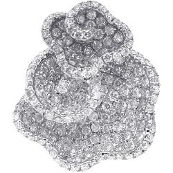 14K White Gold 1.98 ct Diamond Pave Womens Flower Ring