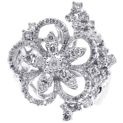 14K White Gold 1.19 ct Diamond Cluster Womens Flower Ring