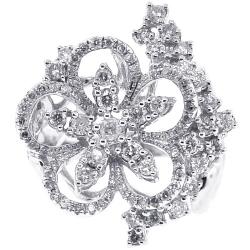 14K White Gold 1.19 ct Diamond Cluster Womens Flower Ring