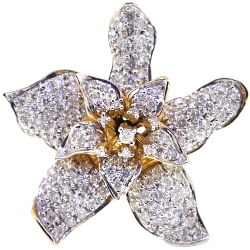 Womens Diamond Lily Flower Ring 14K Yellow Gold 1.81 ct