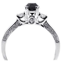 Womens Black Diamond 3-Stone Ring 14K White Gold 1.07 ct