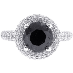 Womens Black Diamond Halo Engagement Ring 14K White Gold 3.66 ct