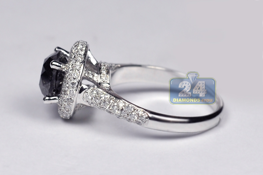 Womens Black Diamond Halo Engagement Ring 14K White Gold 3 66ct
