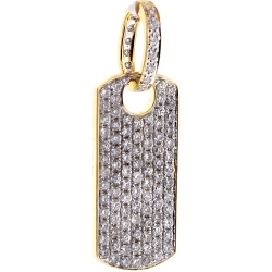 14K Yellow Gold 1.87 ct Full Diamond Dog Tag Mens Pendant
