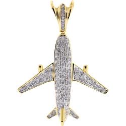 Mens Diamond Airplane Pendant 10K Yellow Gold 0.86 ct