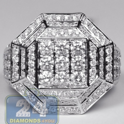 14K White Gold 3.11 ct Diamond Mens Hexagon Ring