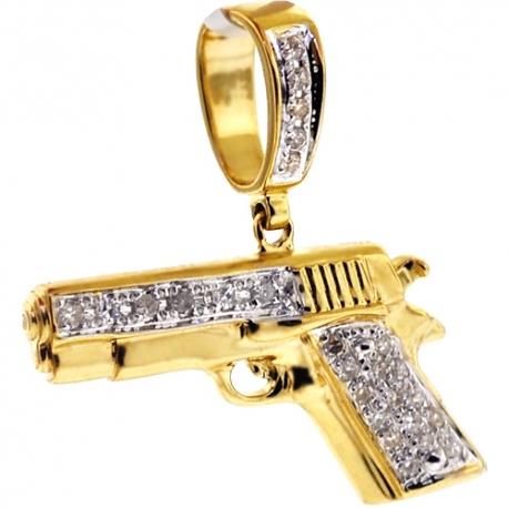 mens diamond pistol handgun pendant 10k yellow gold 021 ct