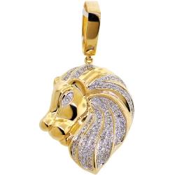 Mens Diamond Lion Head Pendant 10K Yellow Gold 0.84 ct