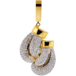 Mens Diamond Boxing Gloves Pair Pendant 10K Yellow Gold 1.47 ct