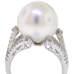 18K White Gold 0.49 ct Diamond 14 mm Pearl Womens Ring