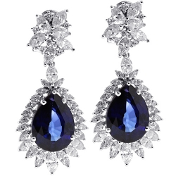 Womens Sapphire Diamond Dangle Earrings 18K White Gold 22.04 ct