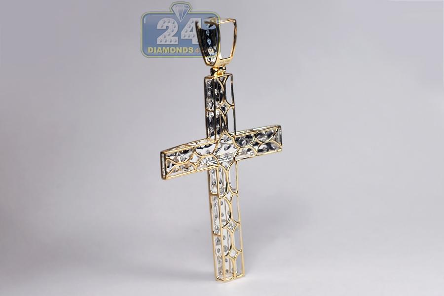 mens cross pendant 10k yellow gold 0 83 ct 2 75 inch