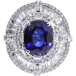 Womens Blue Sapphire Diamond Ring 18K White Gold 9.10 ct