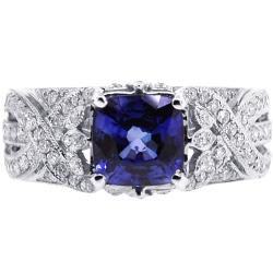 18K White Gold 2.78 ct Cushion Sapphire Diamond Womens Ring