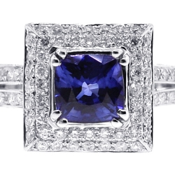 Womens Blue Sapphire Diamond Square Ring 18K White Gold 3.70 ct