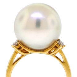 Womens Diamond 15 mm Pearl Ring 18K Yellow Gold 0.33 ct