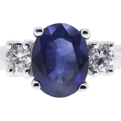 Womens Blue Sapphire Diamond 3-Stone Ring 18K White Gold 2.30 ct