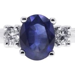 Womens Blue Sapphire Diamond 3-Stone Ring 18K White Gold 2.30 ct
