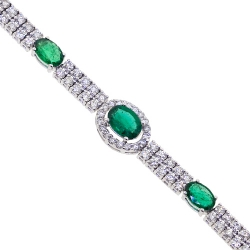 Womens Diamond Emerald Tennis Bracelet 14K White Gold 4.98 ct