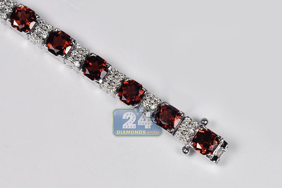 Womens Garnet Diamond Tennis Bracelet 18k White Gold 10 89 Ct