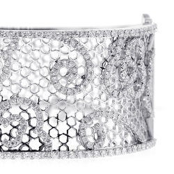 Womens Diamond Filigree Bangle Bracelet 18K White Gold 4.33 ct