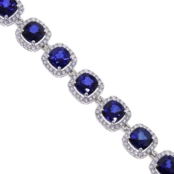 Womens Diamond Blue Sapphire Halo Bracelet 18K White Gold 29.08 ct