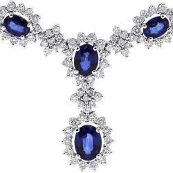 Womens Blue Sapphire Diamond Drop Necklace 14K White Gold 17.62 ct