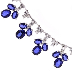 Womens Blue Sapphire Diamond Necklace 14K White Gold 29.74 ct