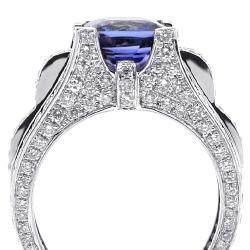 Womens Blue Sapphire Diamond Ring 18K White Gold 5.39 ct