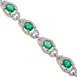 Womens Emerald Diamond Halo Bracelet 18K Yellow Gold 6.36 ct