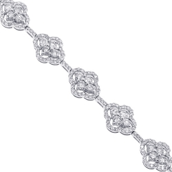 Womens Diamond Cluster Link Bracelet 14K White Gold 5.27 ct
