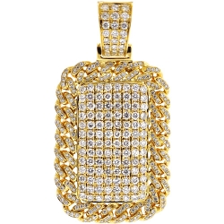 Mens Diamond Cuban Frame Dog Tag Pendant 14K Yellow Gold 2.81 ct