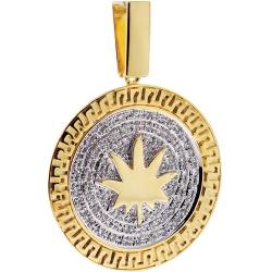 Mens Diamond Marijuana Leaf Pendant 10K Yellow Gold 0.88 ct