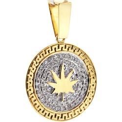 Mens Diamond Marijuana Round Pendant 10K Yellow Gold 0.62 ct