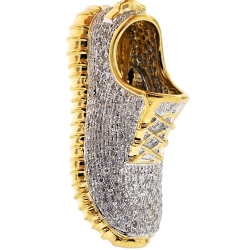 Mens Diamond Sneaker Shoe 3D Pendant 10K Yellow Gold 1.13 ct