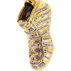 10K Yellow Gold 0.68 ct Diamond Sneaker Shoe Mens 3D Pendant