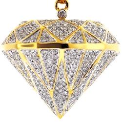 Mens Diamond Shape 3D Pendant 14K Yellow Gold 1.60 ct