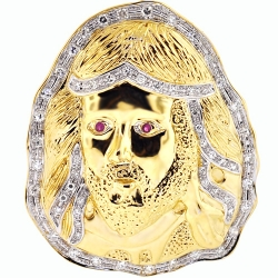 Mens Diamond Ruby Jesus Christ Pendant 10K Yellow Gold 1.06 ct