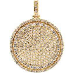 Mens Diamond Round Medallion Pendant 10K Yellow Gold 5.67 ct